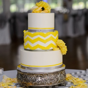 Yellow Chevron Wedding Cake