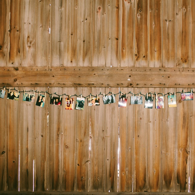 Photos from the newlywed's eight years of dating surrounded the rustic ceremony space.
