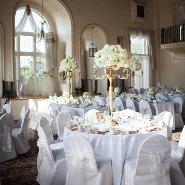 Twelve candelabras filled the grand ballroom showcasing stately arrangements of hydrangeas, white roses and lambs ear.