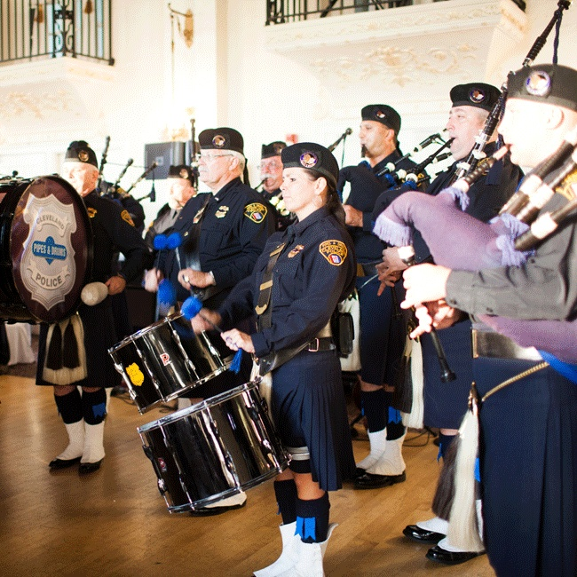 The Cleveland Police Pipes and Drums processed Lauren and Brian into the hall, announcing the married couple, and were followed by Callahan and O'Connor who performed traditional Irish waltzes.