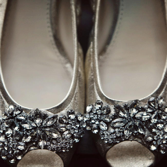 Jennifer balanced comfort and style when selecting Vera Wang Lavender jewel encrusted flats for her farm wedding.