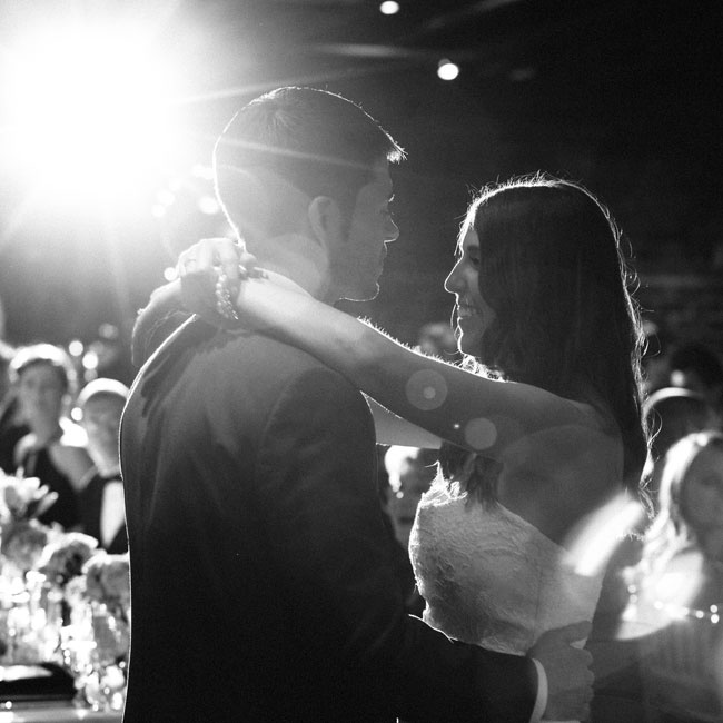 The couple shared a romantic first dance among friends and family.