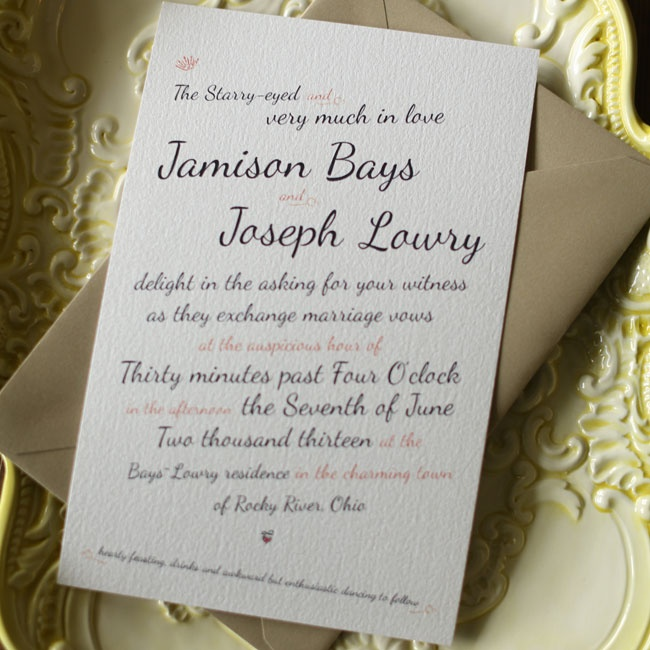 Along with her sister, the bride designed the couple's casual and sweet invitations.