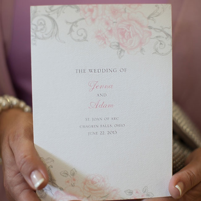 Antique Rose Scroll ceremony programs were purchased from Wedding Paper Divas.