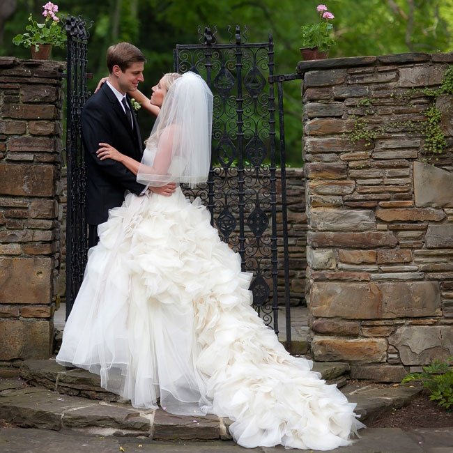 Jenna accessorized her lavish Vera Wang, Hayley ball gown from Matina's Bridal with a polished gray sash.