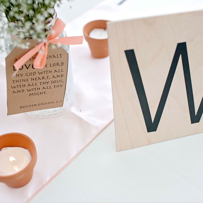 The couple incorporated a Scrabble theme throughout their outdoor reception decor.