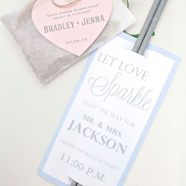 Guests were treated with DIY seed favors and sparklers for the couple's exit.