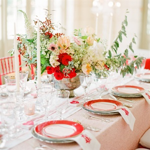 Red, Pink and Green Reception Decor