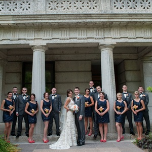 Blue and Orange Bridal Party