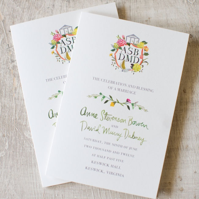 Anne and David had simple single page invitations with a watercolor design to convey their rustic-inspired nuptials.
