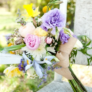 Pastel Bouquet With Burlap Wrap