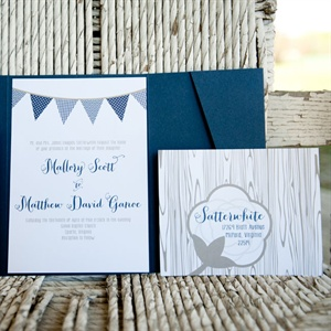 Whimsical Navy Invitations