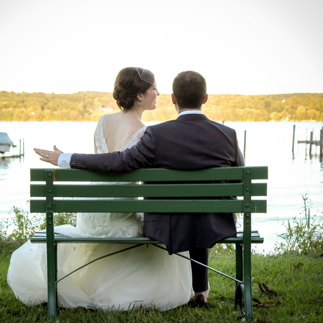 The couple took a moment to admire the view of Chautauqua Lake in upstate New York's Chautauqua Institution.