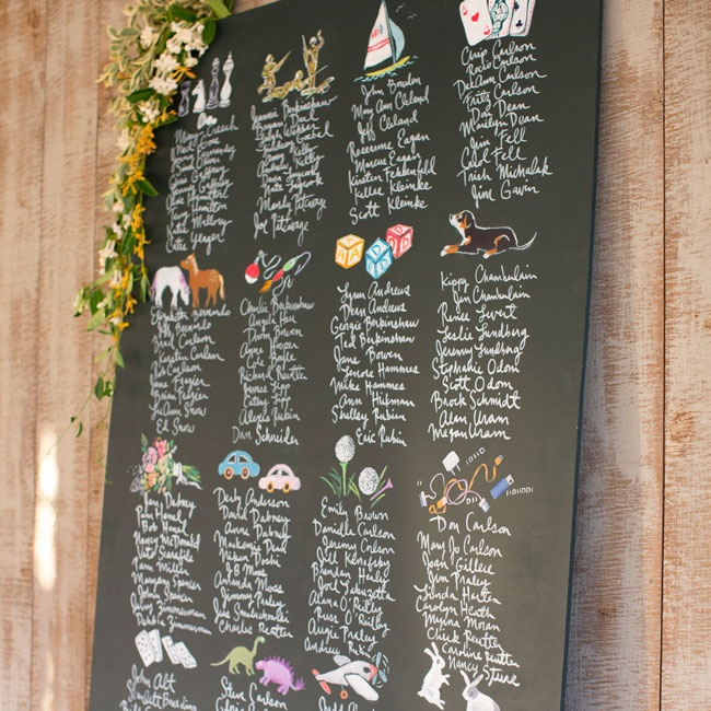 Instead of individual cards, the couple had a whimsical escort card board with a different illustration per table.