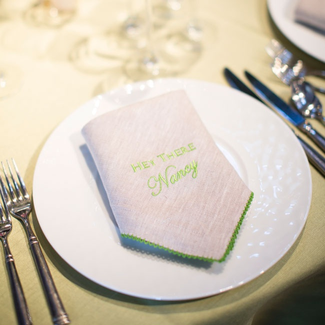 Anne and David selected embroidered napkins as seating cards that were personal and unique per guest.