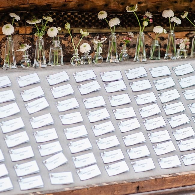 The couple pinned traditional escort cards to a board laid over a repurposed wooden piano.