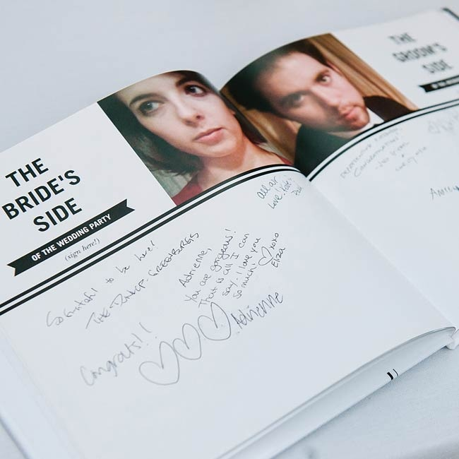 The bride and groom opted for a yearbook-style streamlined guest book with playful photos of the couple inside that Adrienne created on Shutterfly.