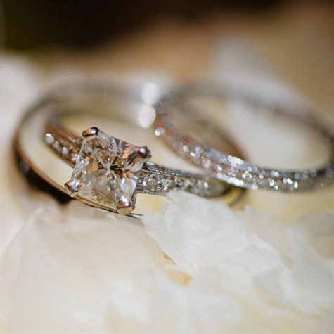 square cut engagement ring