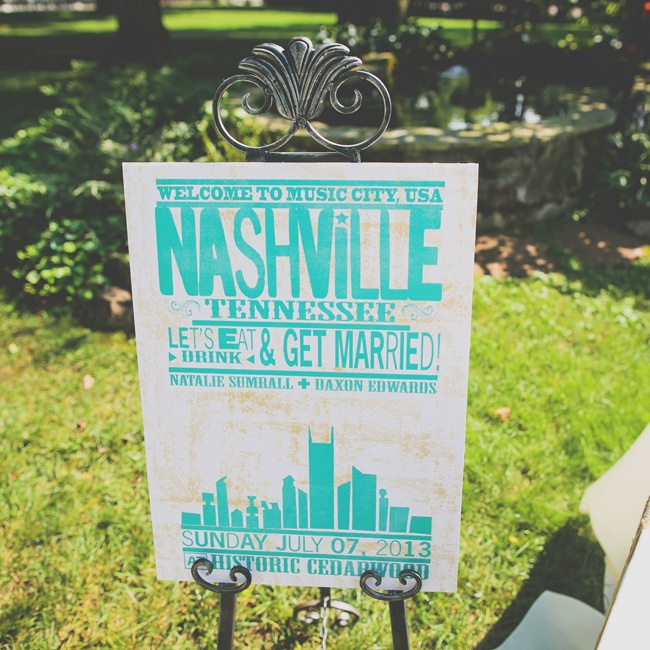 "Guests were welcomed to the celebration in true country form with a huge ""Nashville"" sign."