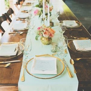 Mint and Gold Reception Table