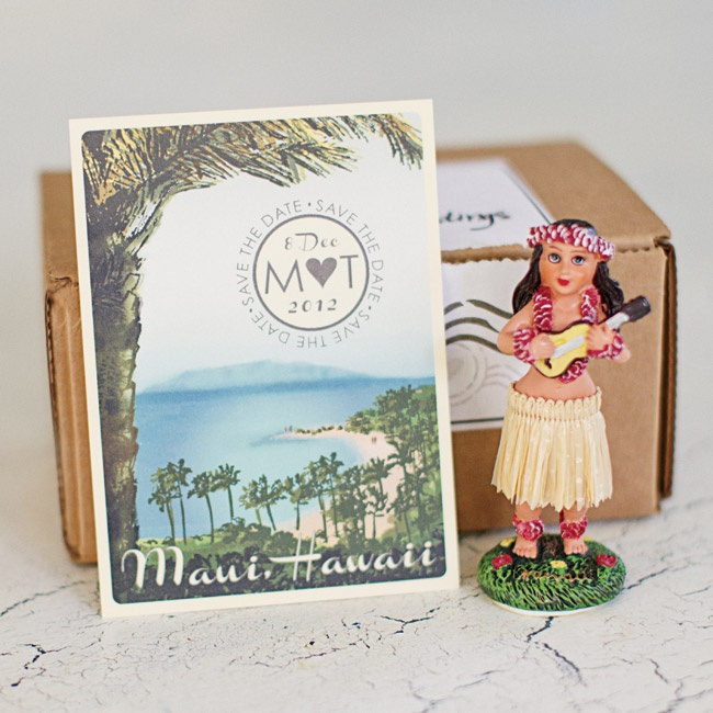 Mackenzie and Tim sent their guests a retro dashboard hula girl along with vintage Maui, HI postcards for their save-the-dates.