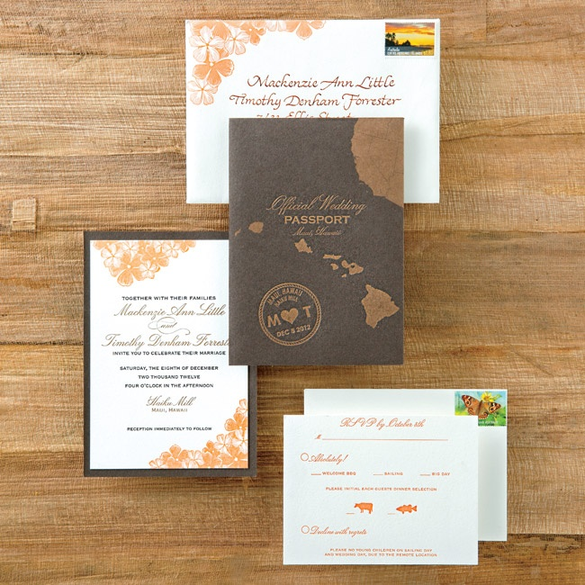 The invitation suite's passport theme was fitting due to the bride and groom's different nationalities.