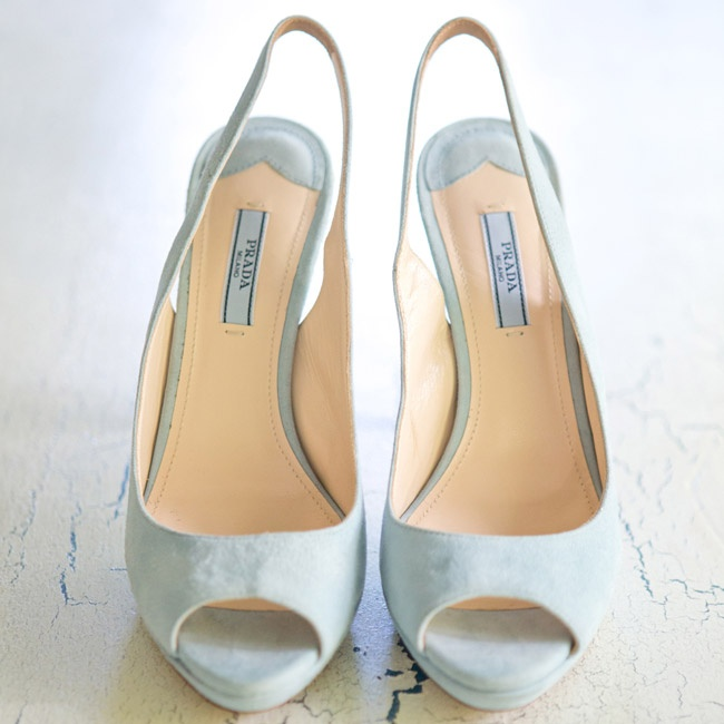 The bride wore light blue Prada slingbacks with a peep-toe.