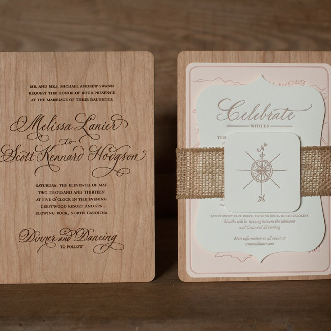 Lanier and Scott's invitations were wooden and incorporated the compass motif seen in design elements throughout the wedding.
