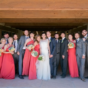 Gray and Coral Bridal Party Attire