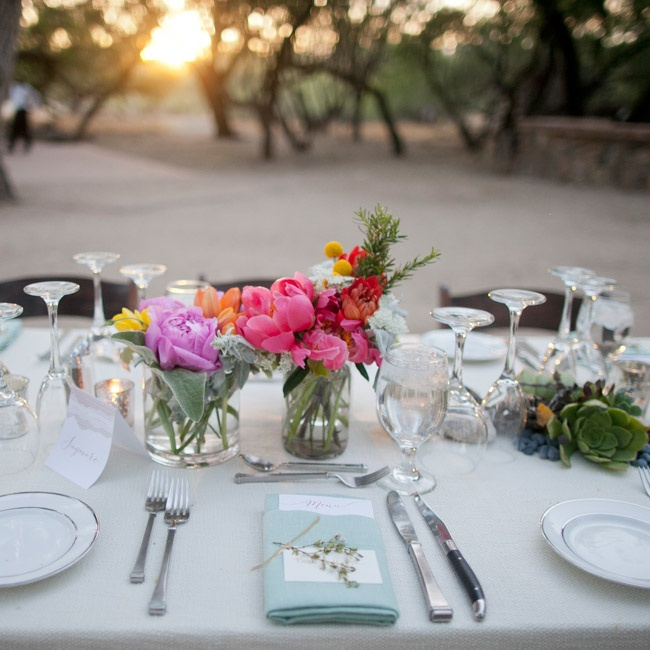 There was a turquoise napkin and a place card tied off with a little piece of creosote (a fragrant Arizonan plant) at each place setting.