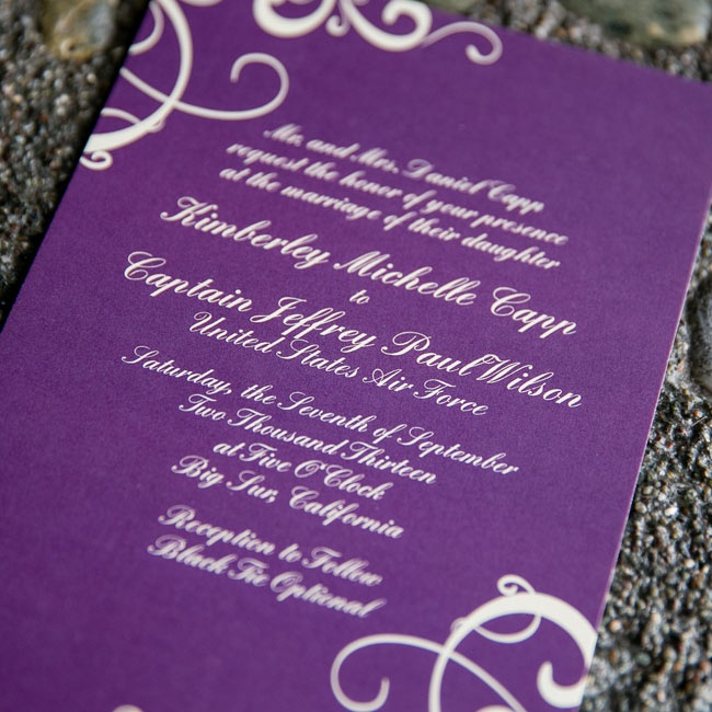 The bride and groom had their vibrant purple invites made online.