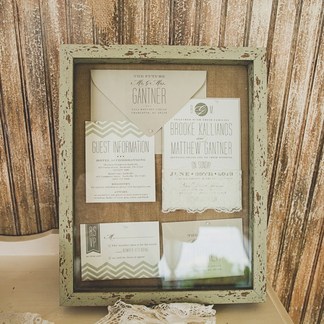 The neutral color palette of the invitation suite was offset by its chevron borders and varied fonts. Brooke found the suite at Anne Marie Gaines's Etsy.com site.