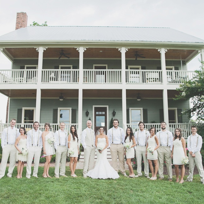 The wedding party stayed in a neutral color palette. Men wore khaki pants with tan suspenders.