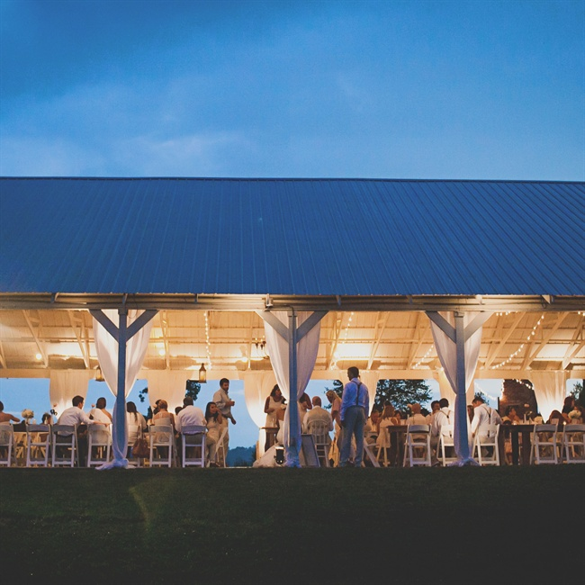 The reception was hosted under a pavilion at Front Porch Farms in Charlotte, TN.