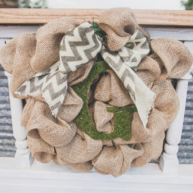 This bustled burlap decoration featured the couple's chevron motif as well as their personal initial.