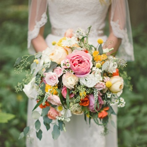 Vibrant Pink and Orange Bridal Bouquet