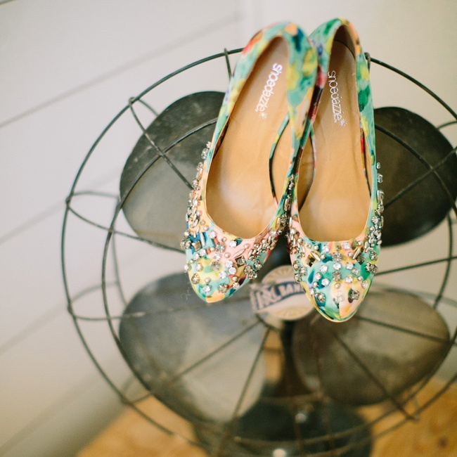 Mallory wore these bejeweled multicolored heels from shoedazzle.com down the aisle.