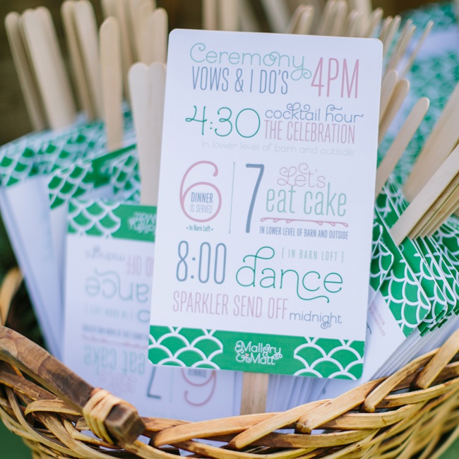 An infographic program fan signaled the day's events to guests of the wedding.