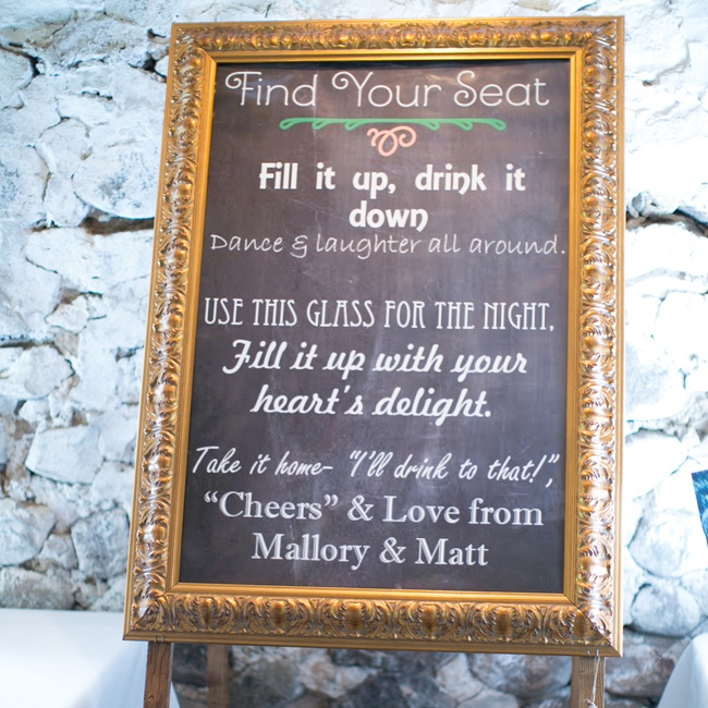 Guests found this cute poem explaining the guests' glass favors in varied fonts and colors.