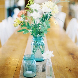 Blue Mason Jar Centerpieces