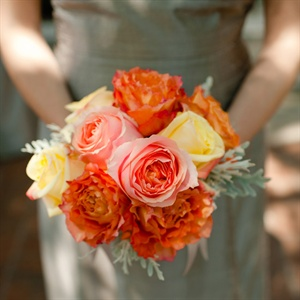 Orange and Pink Bridesmaid Bouquets
