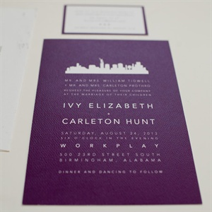 Purple Cityscape Invitation Suite