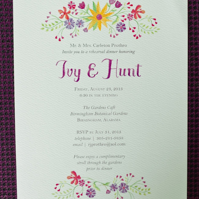 These rehearsal dinner invitations deviated from Ivy and Hunt's modern theme with a watercolor floral design and scripted font.