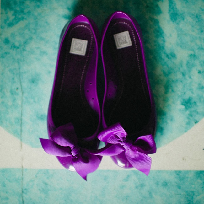 Ivy wore these comfortable flats from Pret-a-beaute.com to complement her bridesmaids' deep purple color palette.