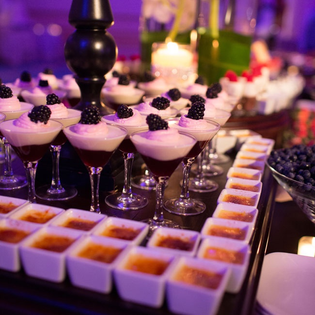 Both the quality and quantity of the food were the most important aspects of the wedding for Dina and John, who indulged guests with a dessert bar overflowing with miniature treats in addition to their five-tier wedding cake.
