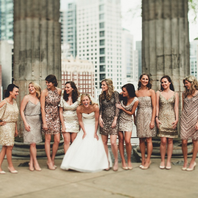 Blakely's bridesmaids wore mismatched sequin cocktail dresses in a champagne color palette.
