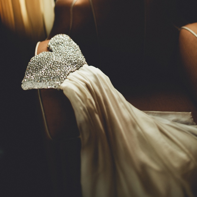 Blakely changed into a second, glam strapless sweetheart dress with a bejeweled bodice for the reception.