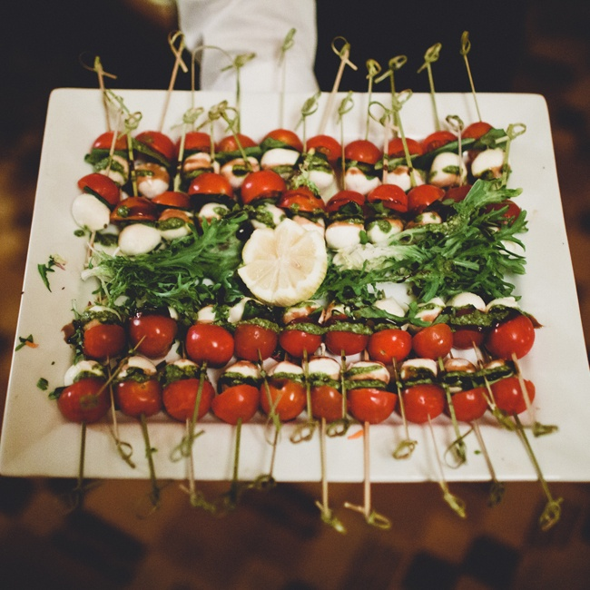 Caprese kababs were passed by hand during the cocktail hour between the ceremony and reception.
