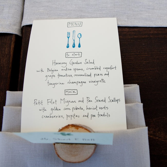 The simple menu cards were handwritten and drawn by Mallie and tucked into burlap linens.