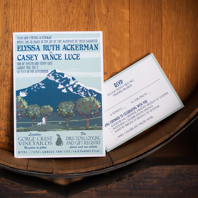 The bride and groom found these retro mountain print invitations on Etsy.com!
